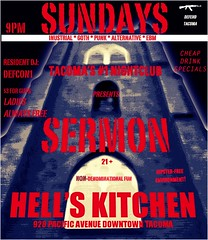 Sermon at Hell's Kitchen in Tacoma (Vorona Photography) Tags: old music food church kitchen rock dark washington flyer bars punk downtown industrial dancing cathedral state pacific live south religion goth hipster churches whiskey neighborhood advertisement charlie entertainment drinks weapon sound pinball punkrock vodka tacoma thrash catholicism avenue venue nightclubs cheap sermon rammstein alternative drown hellskitchen satanic ak47 venues hells controversial dancemusic sundaynight wumpscut kalashnikov musicvenue ebm combichrist drinkspecials ihatehipsters hipsterfree hipsterdeathfest defendtacoma hatehipsters