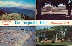 The Turquoise Trail, Albuquerque (jmlwinder) Tags: newmexico albuquerque highways 1960s nm picnik theturqoisetrail scannedchromepostcard