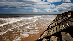Midday solitude (Colin-47) Tags: surf beach coastline middaysolitude sand sea seashore july 2017 clouds sky summer norfolk eastanglia colin47 panasonicdmcg80 lumixgvario1260mmf3556asph distance m43 microfourthirds