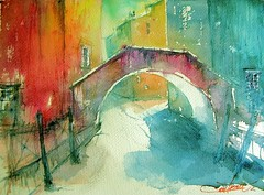 Venezia (chrisaqua47) Tags: bridge venice house water watercolor canal eau lumire maisons aquarelle watercolour pont ligth venise venezia flickrunitedaward