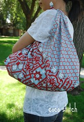 Japanese style wrap bag (coco stitch) Tags: blue red japanese grey large architectural etsy joeldewberry cocostitch azumabukuro wrapbag