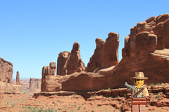 Arches National Park ([inFocus]) Tags: road trip travel usa man america canon cowboy unitedstates lego roadtrip 7d archesnationalpark gunslinger legoman minifigures