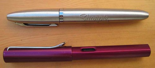 Stainless Steel Sharpie Refillable Permanent Marker nest to Lamy AL-Star