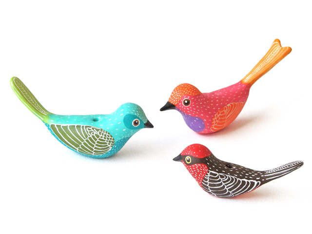 Three little fimo birds