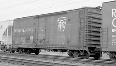 Pennstlvania Railroad plug door box car in transit. From the internet.