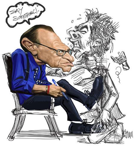 digital caricature of Larry King - idea 2