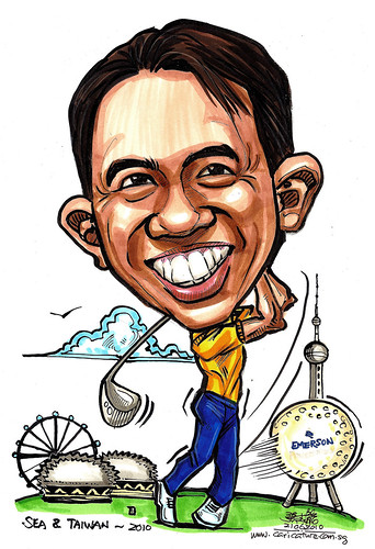 golfer caricatrure for Emerson Process Management