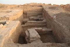 Palais sud du site archéologique de Mari, superposition des palais, ville 2 et ville 3 (mission archéologique française de Mari, 2007)