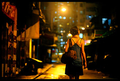 Night walk (Lefty Jor) Tags: street light hk girl night hongkong back dof market bokeh misu ais105mmf25 d700