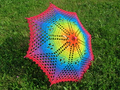 Rainbow Crochet Lace Umbrella/Parasol (babukatorium) Tags: pink blue wedding red summer orange color green art fashion yellow umbrella star bride rainbow funny colorful purple handmade lace turquoise oneofakind pastel crochet moda violet style cotton parasol gradient romantic hippie bridal psychedelic filet arcobaleno doily multicolor octagon whimsical sposa ombrello haken parasole croch fuxia uncinetto cotone fattoamano  tii horgolt uvgreen babukatorium