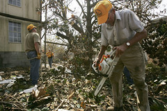 Volunteers from Southern Baptist Convention Clean Up