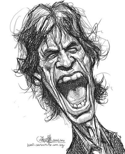 digital sketch study of Mick Jagger - 5