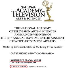 100701 - 美國版《假面騎士龍騎》榮獲日間時段「艾美獎」37年史上第一個「年度最佳特技執導」獎項!1
