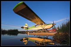 Bellanca 7GCBC Citabria (F/Depth Photography) Tags: sunset lake alaska plane international float fairbanks bellanca citabria pafa 7gcbc 35772 n91854