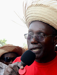 Peasant Leader Chavannes Jean-Baptiste addresses the crowd (teqmin) Tags: usaid haiti corn farmers seeds environment mpp monsanto chavannes hinch jeanbaptist haitianpeasants gmofreeworld usforeignaid monsanato tminskyixnetcomcom antimonstanto foodsoverignty