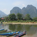 More boats on the riverside, Vang Vieng