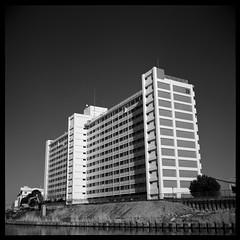 Number 23 (gullevek) Tags: sky blackandwhite building tree 6x6 mamiya film water japan river geotagged iso100 tokyo construction    housebuilding     mamiya6mf mamiya75mmf35 shanghaigp3100 kenkopror64 geo:lat=35704435 geo:lon=13983421