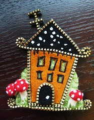 little zipper house with antenna (woolly  fabulous) Tags: house wool mushrooms pin recycled brooch felt zipper