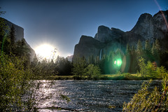 The Merced (shiny picture) Tags: california park yosemitefalls nature landscape national waterfalls yosemite lensflare wilderness elcapitan hdr risingsun mercedriver bridalvielfalls californianationalpark morningwaterfalls