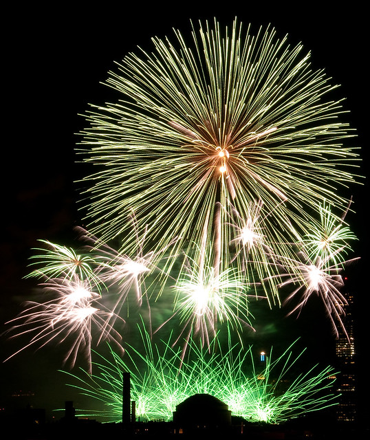 green fireworks over MIT dome