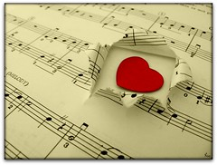 Music is love in search of a word (Pink Flutterby   OFF) Tags: love heart romance romantic sweet cute red passion passionate music musician musical macro sheet musicsheet note notes tear teared rip ripped page pages paper book loveheart lines antique antiqued listen canon powershot sx120 sx120is