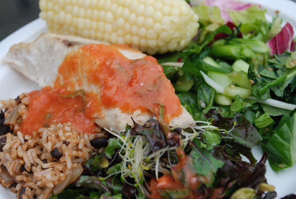 dinner at esalen: local halibut, local corn, esalen salads