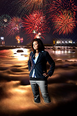 Jennie Infront of the Fireworks (Billy Wilson Photography) Tags: longexposure sky woman lake ontario canada motion reflection wet water girl saint composite lady female night digital photoshop canon river dark eos rebel lights evening movement model fireworks edited tripod jennie superior falls rapids adobe marys xs portfolio soo independenceday current saultstemarie northernontario algoma cs4 modelmayhem diffractionstars billywilsonphotography saultphotographer