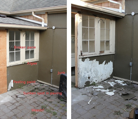 Before and during shots of the mudroom exterior, showing most of the paint scraped off.