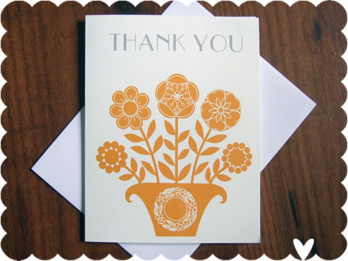 Button Flowers Thank You Card