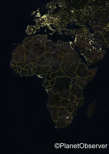 Africa at night - Satellite image - PlanetObserver