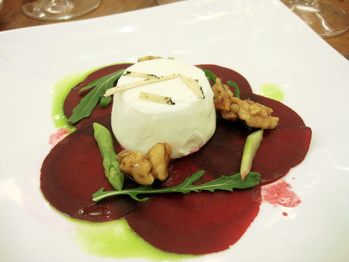 "Carpaccio of Beetroot with Goats"" Curd Panne Cotta, Asparagus and a Truffled Walnut and Honey Dressing"