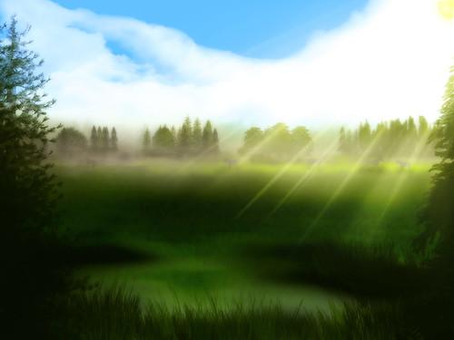 [フリー画像] グラフィックス, イラスト, 風景(イラスト), 草原, 201007120100