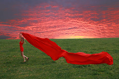 Red fabric (Eliza Frydrych) Tags: sunset red girl meadow fabric material laka czerwony zachodslonca cotcmostfavorited redfabric canoneos450d