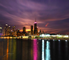 Chicago Skyline (Tomasito.!) Tags: thanksgiving longexposure nightphotography pink blue light sky urban usa moon chicago reflection building love tourism water beautiful lines skyline architecture night clouds america river landscape 1 pier nikon skyscrapers nightshot philippines navy magenta surreal tourist ethereal mostinteresting magical powerful jt beautifulclouds touristattraction chicagoatnight chicagoskyline johnhancockcenter noriega tomasito d90 smoothwater tallestbuildings nikond90 platinumheartaward colorfulphoto bighugsmydearfriend
