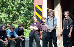 Amish Teens (PSchneid221) Tags: bridge horses horse dutch train children carriage pennsylvania farm wheat country ox amish coveredbridge hay mule mennonite amishteens streamtrain dieseltrain amishchildren teensamishchildren