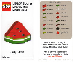 LEGO MMMB - July '10 (Watermelon) (TooMuchDew) Tags: holiday lego july watermelon melon legostore wassermelone citrulluslanatus legoimaginationcenter legoinstructions mmmb toomuchdew monthlyminimodelbuild licmoa minimodellbauevent