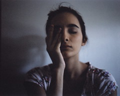 - (alexis mire) Tags: pink selfportrait film floral girl hand 400 medium format expired eyebrows c1 mamiyarb67 c41