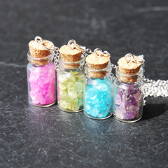 Precious Gemstone - Bottle Necklace (Baby Loves Pink) Tags: necklace bottle jar peridot rosequartz whitegold bluetopaz purpleamethyst manapotion babylovespink healthpotion