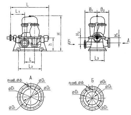 Габаритно-присоединительная характеристика насосов СЭ 1250-140-11
