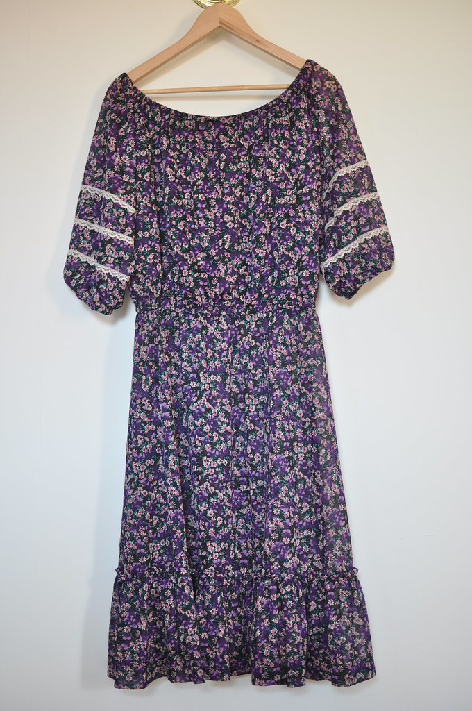 vintage chiffon floral dress