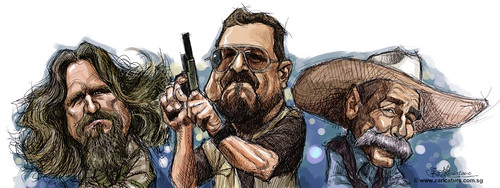 digital caricatures of The Big Lebowski - light wash small