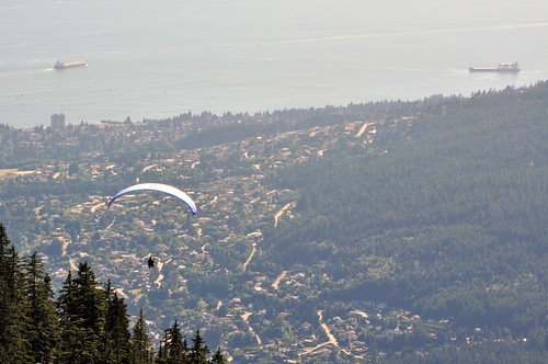 Paraglider over West Vancouver