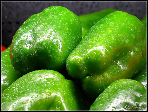 Fresh green capsicums.