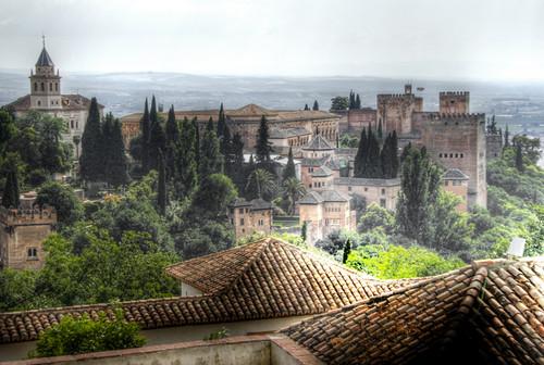 Alhambra and Generalife roofs. Granada. Alhambra y techos del Generalife.