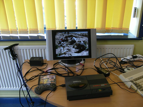 CD32 with FMV Module Playing Dinosaurs VCD