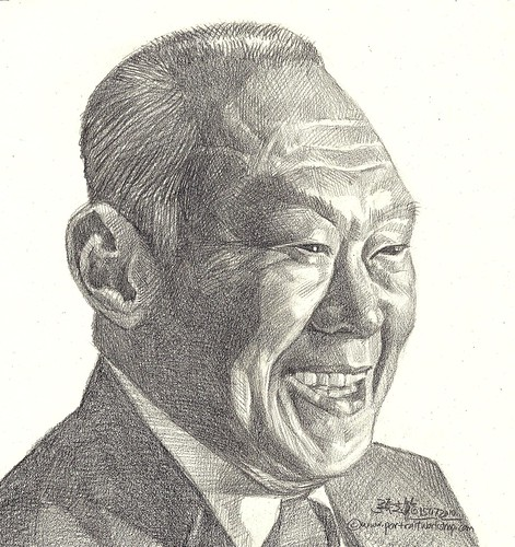 Pencil portrait of Singapore Senior Minister Lee Kuan Yew 李光耀