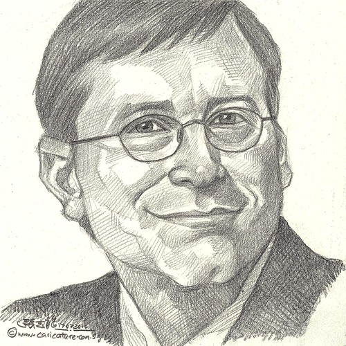 Pencil portrait of Microsoft Bill Gates