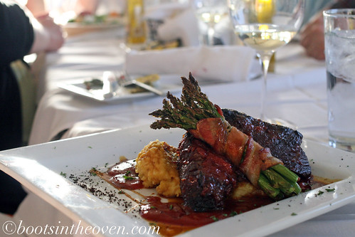BBQ Beef Shortribs with polenta and bacon-wrapped asparagus
