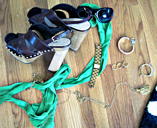 miu miu clogs+chain tassel necklace+green scarf+gold jewelry and accessories