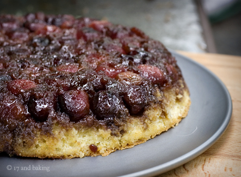 Cherry Cornmeal Upside Down Cake | 17 and Baking